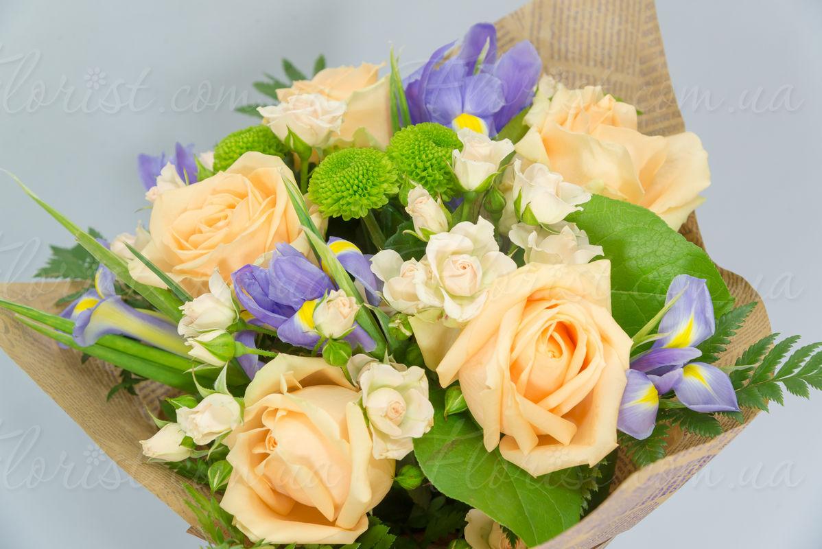 Send Bouquet of roses, irises, spray chrysanthemums, greenery ...