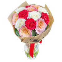 Bouquet of mixed color roses Merry Greetings