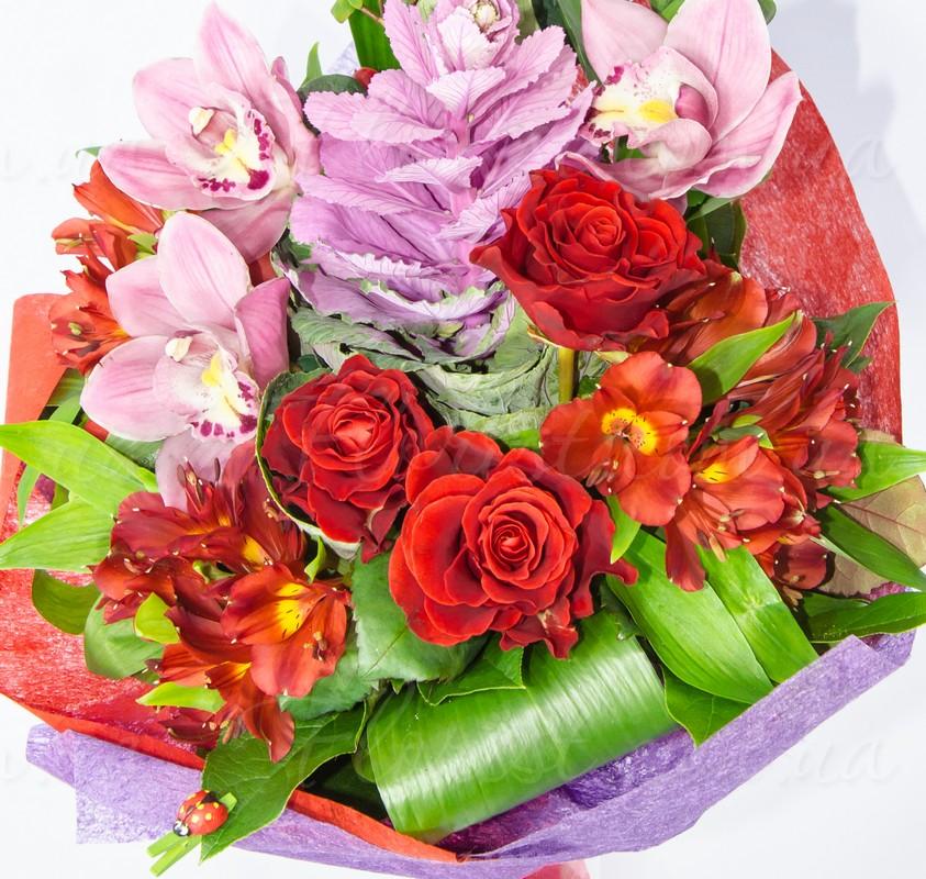 Заказать деловой строгий букет стебный подарок на14 февраля