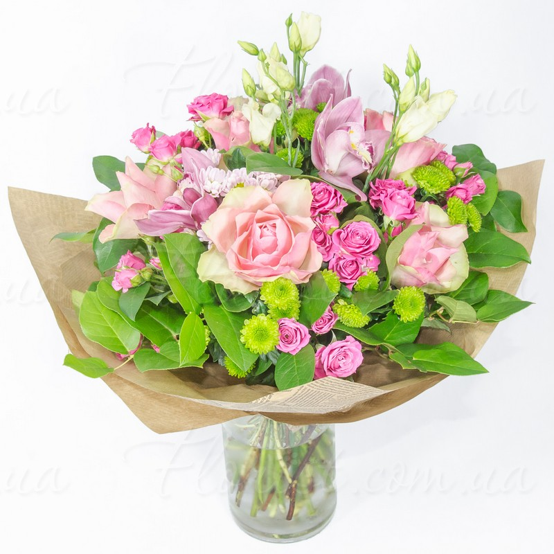 Send Gentle-pink bouquet for Girl. Orchids, roses, eustoma ...