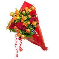 Bouquet Red and Orange Roses (7, 11 or 15 roses) - view more