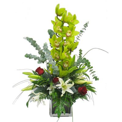 Unusual arrangement with an orchid Grace - view more