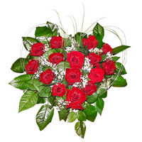 Heart-shapeв arrangement of 15 roses Валентинка - view more