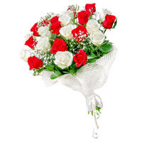 Bouquet of red and white roses Bright Gift