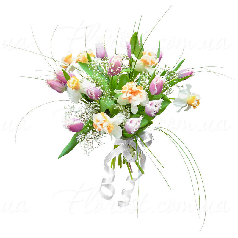 rozi-buketi-iz-tyulpanov-i-nartsissi-svadebnie