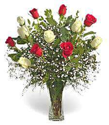 Bouquet of red and white roses Shining Smile - view more