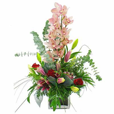 Flowers arrangement with orchid Lady in pink - view more
