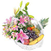 Fruit basket decorated with flowers - view more