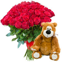 Bouquet of red roses and soft toy (bear) - view more