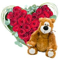 Bouquet Heart of red roses and Bear - view more