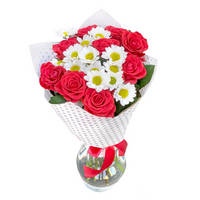 Bouquet of red roses and chrysanthemums Brightful Colours