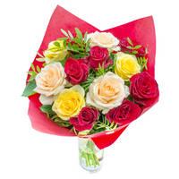 Букет из разноцветных роз Красочный Сюрприз - смотреть подробнее