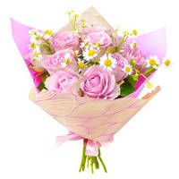 Bouquet of pink roses Gentle gift
