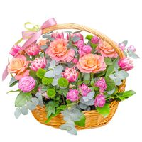 Flowers arrangement in basket Spring