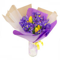 Bouquet of tulips and irises Sun Splash