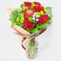Bright bouquet in red colours Interesting