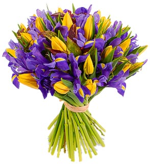 Bouquet of irises and tulips Spring mood