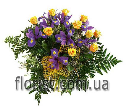 Bouquet roses and irises Bright Fantasy