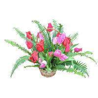 Basket of red and pink tulips Spring Surprise - view more