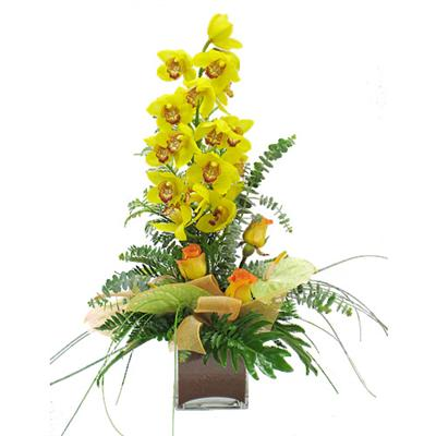 Beautiful arrangement with orchid Sunny orchid